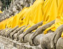 Perspective of Buddha Statues. In the temple of Wat Yai Chai Mongkol in Ayutthaya, the ancient capital of Thailand Stock Photography