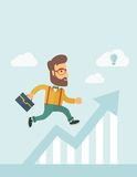 Perspective business and Ideas. The businessmen with beard is running over growing chart. Perspective Idea concept. Vector flat design Illustration. Vertical Stock Images