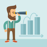 Perspective business. The man with a beard holding a telescope and seeing the graph towards success. Improvement concept. Vector flat design Illustration Stock Photos