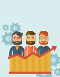 Perspective business. Three businessmen with beards over growing chart. Perspective business concept. Vector flat design Illustration. Vertical layout with a Royalty Free Stock Photography