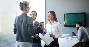 Perspective businesspeople having meeting in conference room stock image