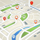 Perspective city map with symbols Royalty Free Stock Photos