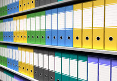 Perspective of colorful binders Stock Photography