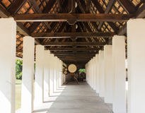 Perspective corridor in asian temple Royalty Free Stock Images
