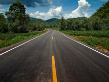 Perspective country Road. Perspective road yellow dot line and white line Royalty Free Stock Images