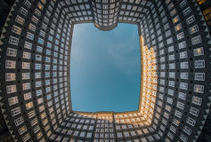 Windows on the word. Perspective from a courtyard in Hamburg showing hundreds of windows royalty free stock image