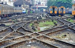 Perspective of crossing railway track junction Stock Photo