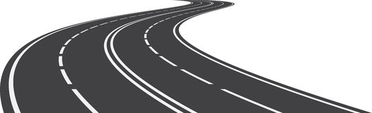 Perspective of curved road. Vector illustration of perspective of curved road Royalty Free Stock Photo