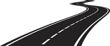 Perspective of curved road. Vector illustration of perspective of curved road Royalty Free Stock Image