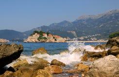 Perspective d'îlot de Sveti Stefan, Monténégro Photo stock