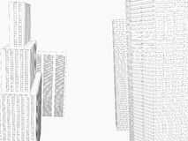 Perspective 3d architecture background with wireframe skyscrapers. Vector illustration vector illustration
