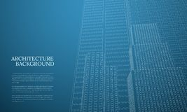 Perspective 3d architecture background with wireframe skyscrapers. Vector illustration royalty free illustration