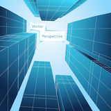 Perspective 3d building. Abstract vector poster. Skyscraper design, business architecture structure illustration Royalty Free Stock Photo
