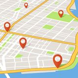 Perspective 3d city map with pin pointers. Abstarct gps navigation vector concept. Illustration of map navigator gps, town navigation road Stock Images