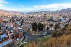 Perspective d'oiseau de La Paz/de Bolivie images libres de droits