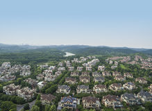Perspective d'oiseau de village, photo aérienne Image stock