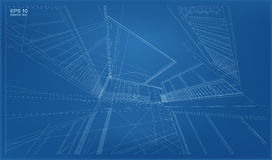 Perspective 3D render of building wireframe. Stock Images