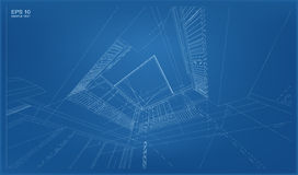 Perspective 3D render of building wireframe. Abstract 3D rendering of building wireframe structure Stock Photo
