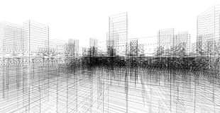Perspective 3D render of building wireframe. Royalty Free Stock Images