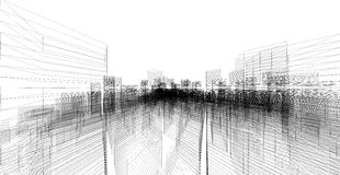 Perspective 3D render of building wireframe. Royalty Free Stock Photography