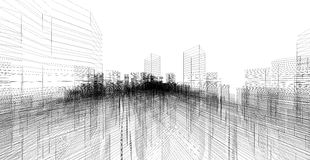 Perspective 3D render of building wireframe. Stock Photography
