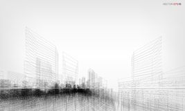 Perspective 3D render of building wireframe. Vector illustration. Perspective 3D render of building wireframe. Vector wireframe city background with image of royalty free illustration