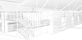 Perspective 3D render of interior wireframe. Stock Images