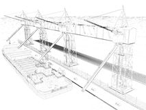 Perspective 3D render of interior wireframe. Stock Photos