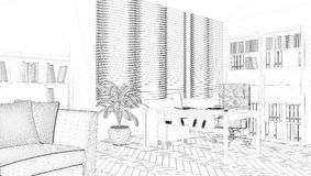 Perspective 3D render of interior wireframe. Royalty Free Stock Photography
