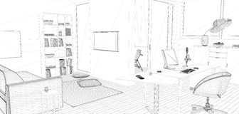 Perspective 3D render of interior wireframe. Royalty Free Stock Images