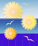 Perspective Daisies. A background of receding tiles with daisies and birds flying vector illustration