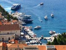 Perspective de port de Hvar, Croatie Photographie stock