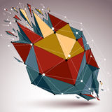 Perspective demolished shape, lines and dots connected, bright p. Olygonal digital wireframe object. Explosion effect, faceted element cracked into multiple stock illustration