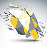 Perspective demolished shape, lines and dots connected, yellow p. Olygonal digital wireframe object. Explosion effect, faceted element cracked into multiple vector illustration
