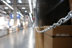 Perspective and depth of field of Large hangar warehouse industrial and logistics companies. Warehousing on the floor and called the high shelves royalty free stock images