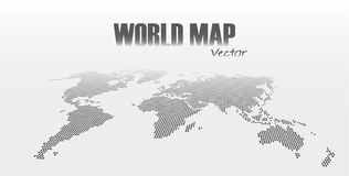 Perspective and dotted style world map on gray background Stock Photography