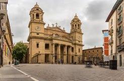 Perspective du dôme néoclassique de l'église du saint Lawrence Iglesia de San Lorenzo à Pamplona, la Navarre, Espagne Il photographie stock