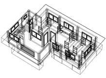 Perspective du modèle 3D de Chambre Image libre de droits