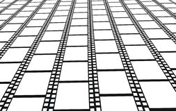 Perspective of empty filmstrips -  background. Illustration Stock Photos