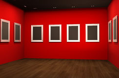 Perspective of  empty frames on red walls. Perspective of gallery interior with empty frames on red walls Royalty Free Stock Photos