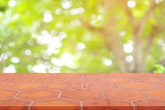 Perspective empty mon brick flooring clay brick blur natural background, can be used mock up for montage products display or royalty free stock photography
