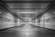 Perspective of Empty underground passage Royalty Free Stock Photo