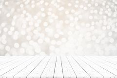 Perspective empty white wooden table on top over blur background. Can be used mock up for montage products display or design layout Royalty Free Stock Photo