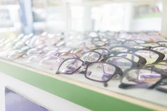 Perspective of eye glasses in the shop. Stock Photography