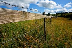 Perspective of fence in Yorksire Countryside Stock Photos