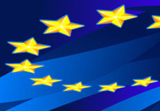 Perspective Flag of Europa. Perspective Flag of European Union. Vector Illustration. No Meshes Stock Photos