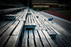 The perspective, formed using the benches. This photo has taken on the tribune of one of stadiums in Kazan. Benches form the perspective there Stock Photo