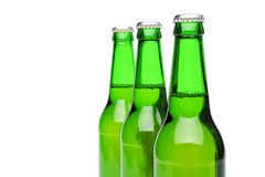 A perspective of full bottles. A perspective of three full bottles Royalty Free Stock Image