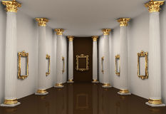 Perspective of gallery with Corinthian column Stock Photo