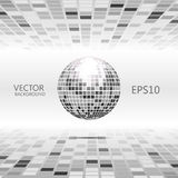 Perspective grayscale background with sphere. Abstract poly perspective grayscale background with sphere like disco ball Stock Image